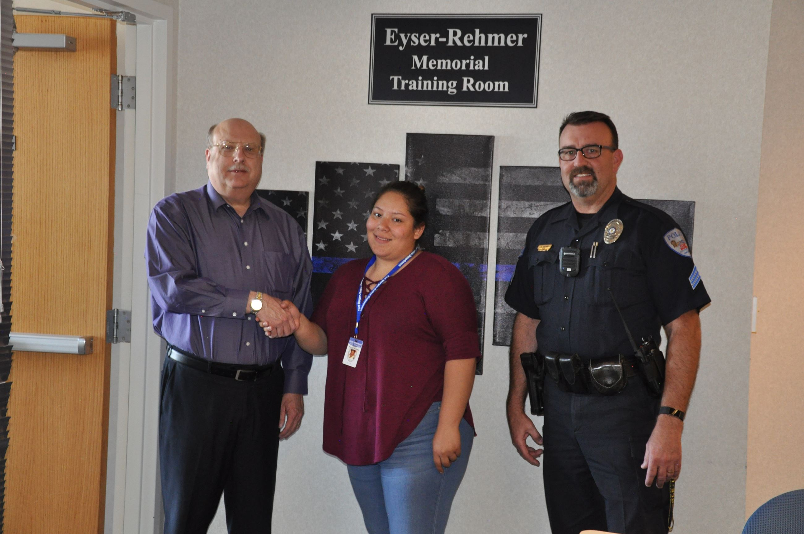 FMPD Intern Azalya Gaytan with Chief Paul Schultz and Sgt. Steve Brown
