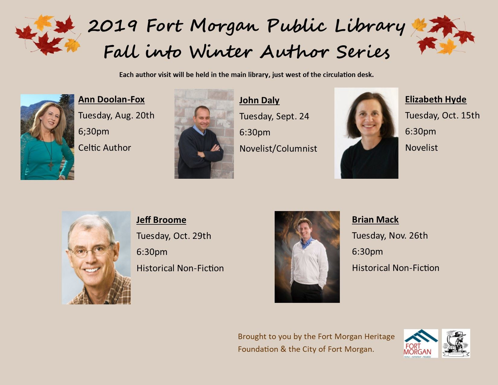 2019 Fall into Winter Author Series Flier